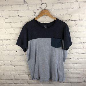 J. Crew Authentic Blue Knit Goods Pocket Tee L